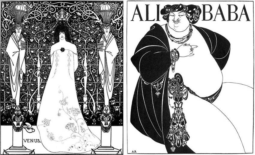 Aubrey-Beardsley-Venus-between-Terminal-Gods-1895-Left-The-Cover-of-One-Thousand-Nights-1897-Right-images-via-wikipediaorg