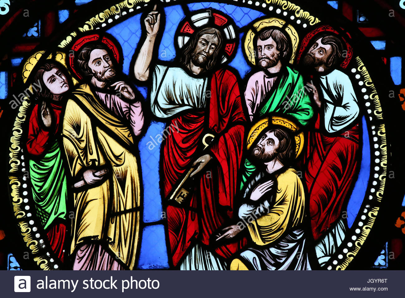 saint-martin-dainay-basilica-stained-glass-window-jesus-giving-keys-JGYR6T